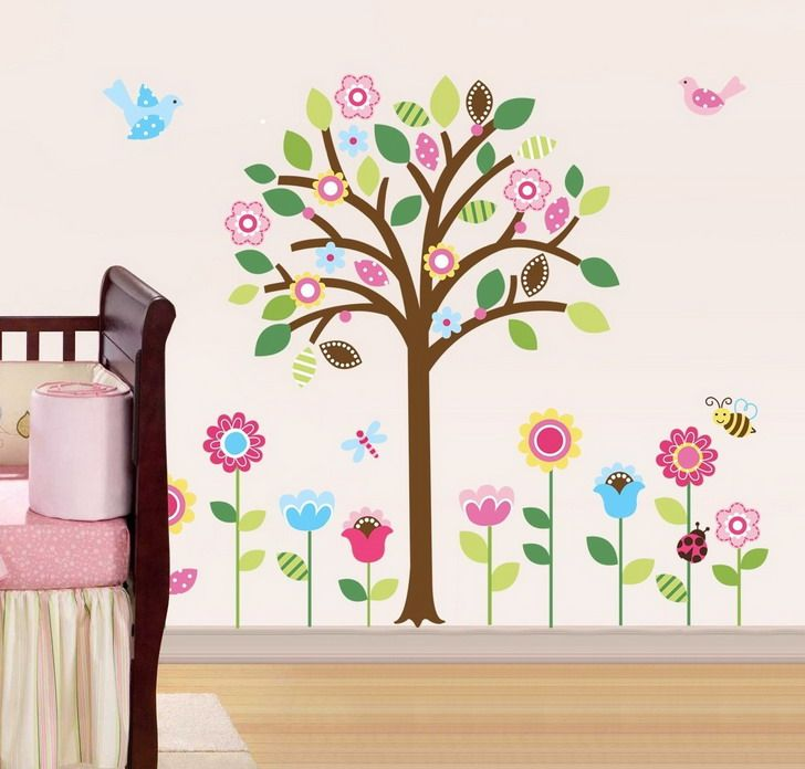 beautiful falling cherry blossom floral wall decal with birds for bedroom simple diy baby nursery design cute paper floral wall texture art ideas