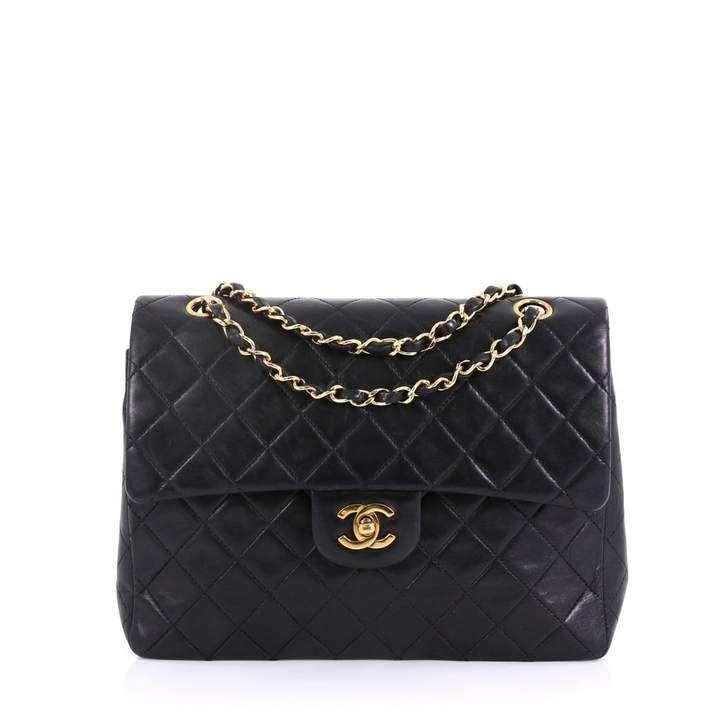 Chanel Vintage Timeless Classique Black Leather Handbag Black