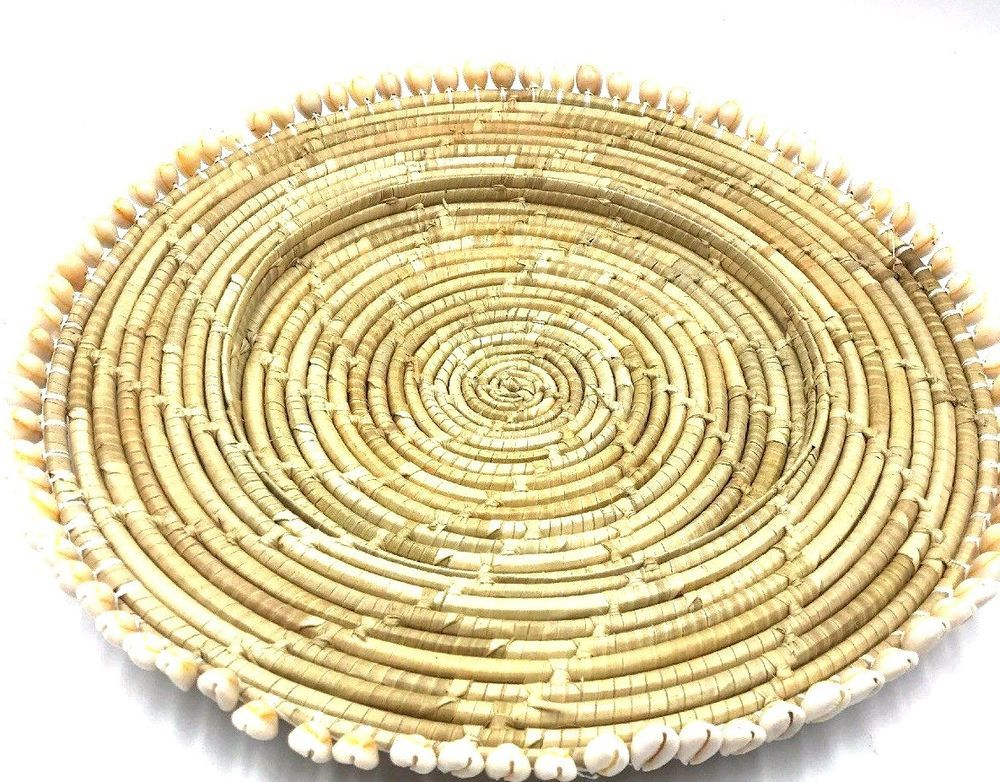 Wicker Paper Plate Holder Woven Rattan Picnic Vtg 15u201d shell finish set of 4  sc 1 st  Pinterest : wicker paper plate holders - Pezcame.Com