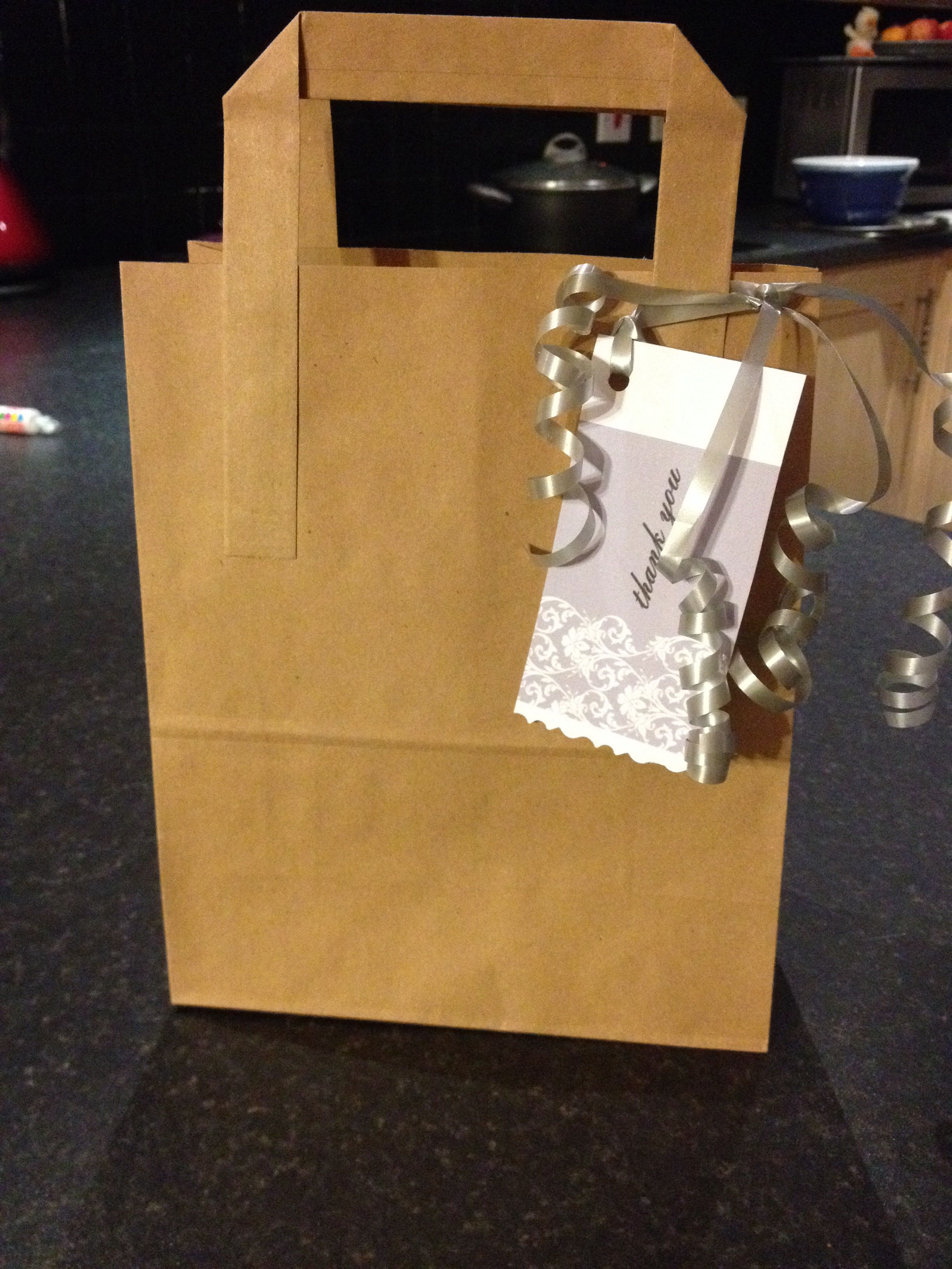 Baby shower brown paper bag cream grey theme gifts for