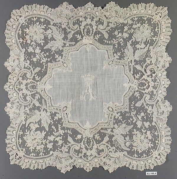 Handkerchief Date: 1875–89 Culture: French Medium: Linen