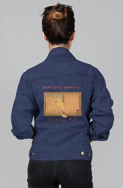 Armenian Women Kicking Ass Women's Denim Jacket