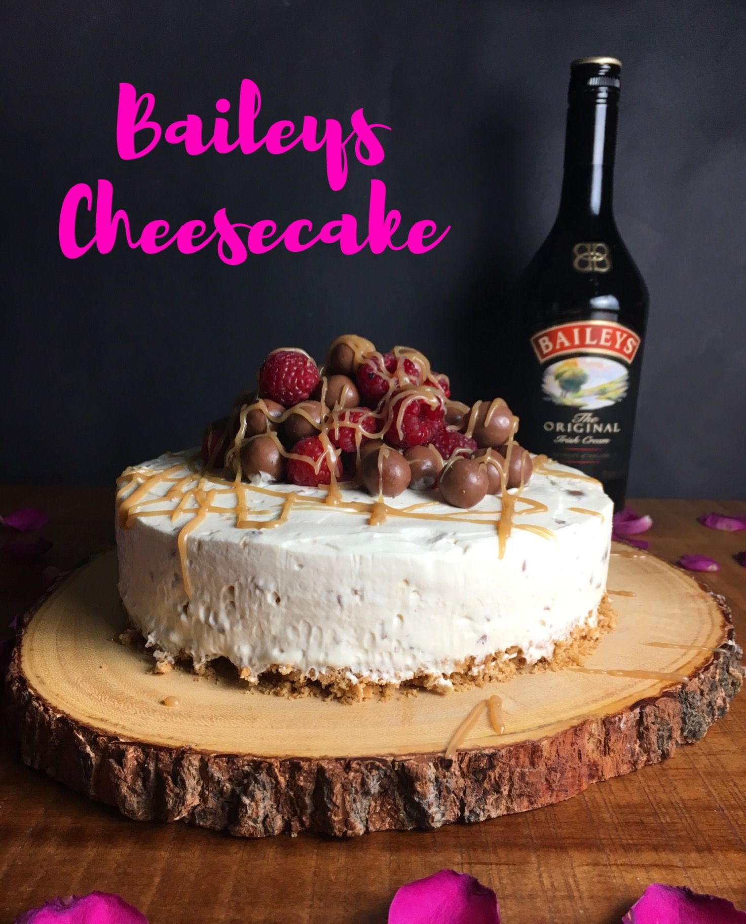 Easy No Bake Baileys Cheesecake Riddled With Maltesers And Finished A Good Helping