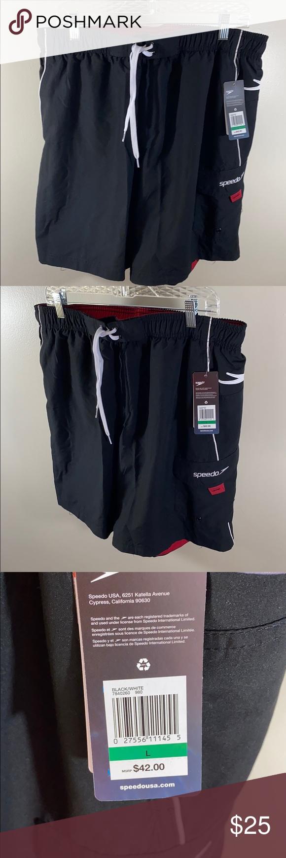 Speedo Men's bathing suit. NWT Speedo trunks. Sleek black and red. Size large. NWT  M-127 Speedo Swim Swim Trunks #mensbathingsuits Speedo Men's bathing suit. NWT Speedo trunks. Sleek black and red. Size large. NWT  M-127 Speedo Swim Swim Trunks #mensbathingsuits