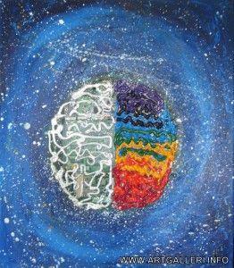 16. Your Brain Is the Universe St.: 60×70 cm.  Materials: acryl på lærred; elektrisk genbrugsmateriale.  Iana Olsen Morgunova