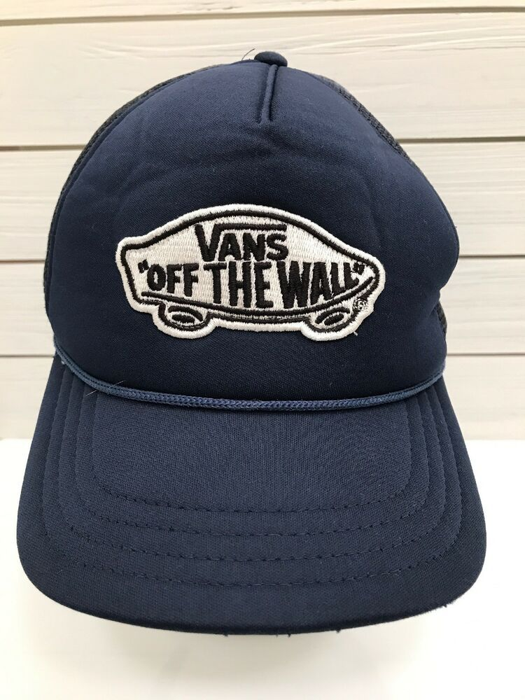 750bf99e00 Vans Off The Wall Blue Mesh Hat Snapback White Black Patch Surf Beach  VANS   TruckerHat