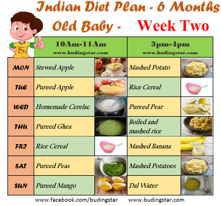 diet for 6 months old baby india
