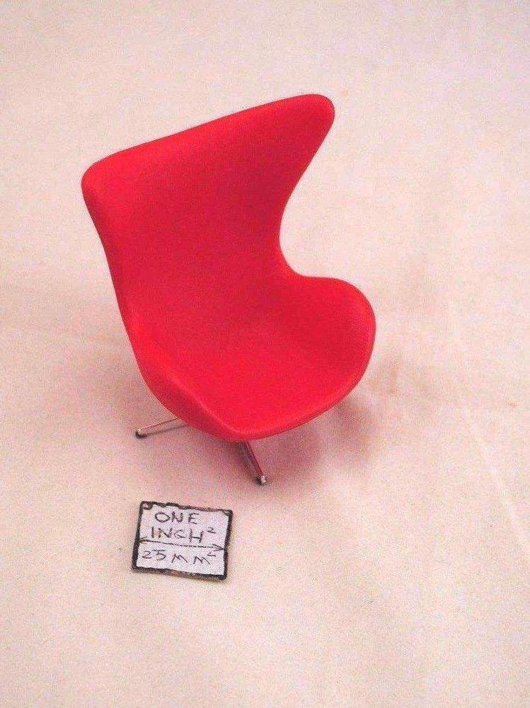 Dollhouse Miniature Reac Modern Red Heart Cone Chair REC009