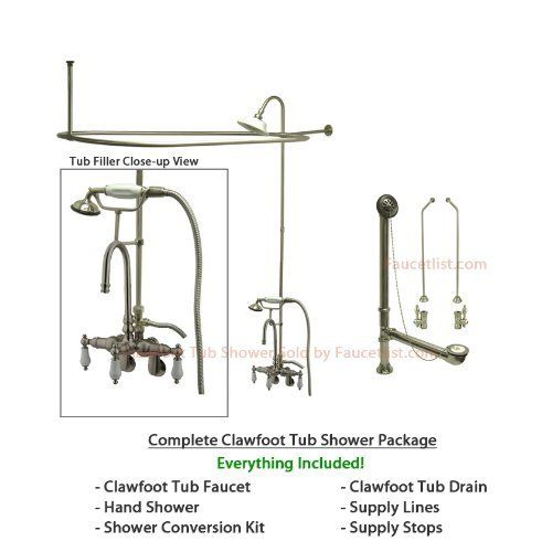 Satin Nickel Clawfoot Tub Shower Kit with Faucet and Hoop Shower Rod