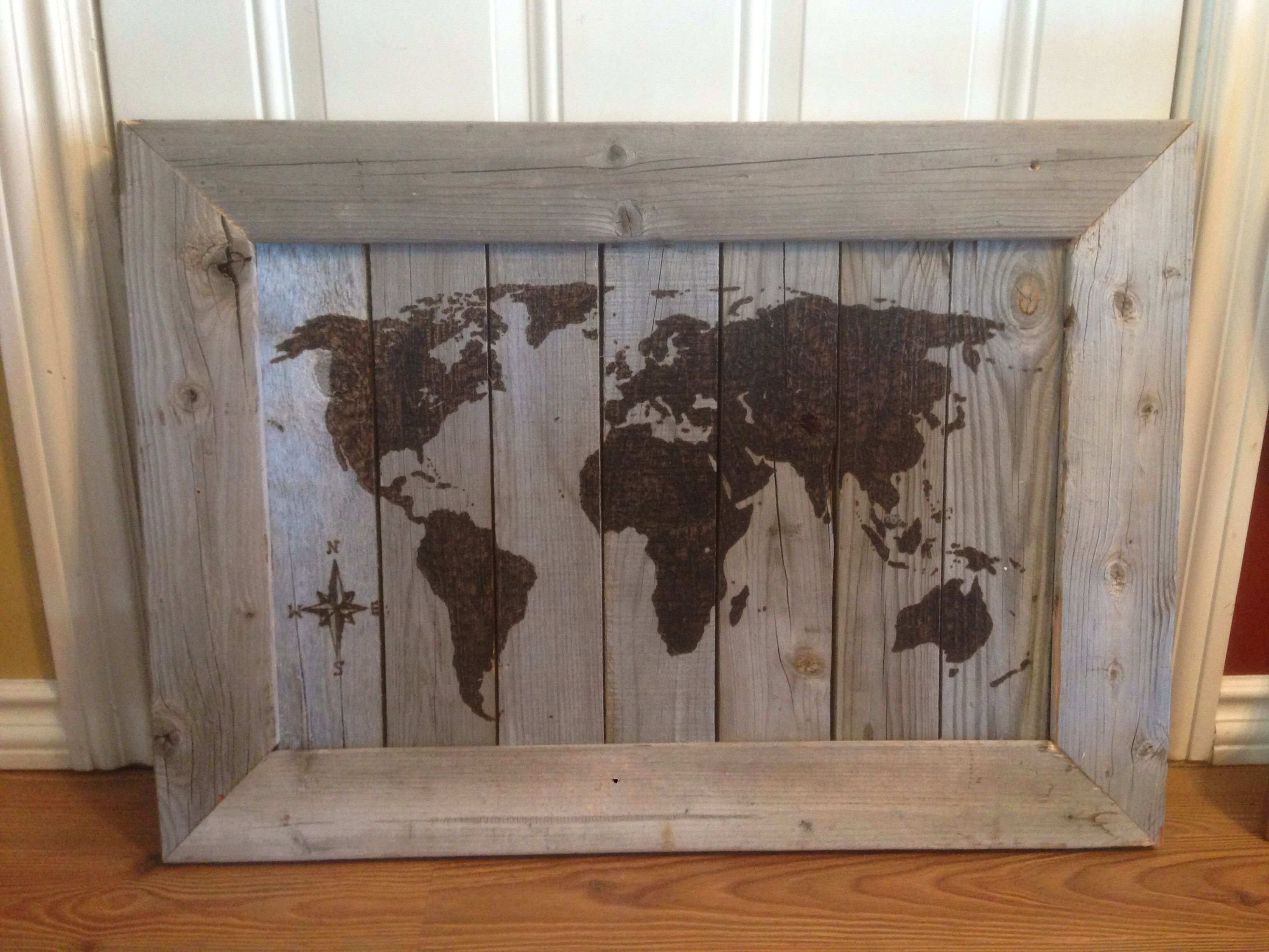 Wood burnt world map onto old pallet wood made the frame out of wood burnt world map onto old pallet wood made the frame out of old 2x4s jeuxipadfo Gallery