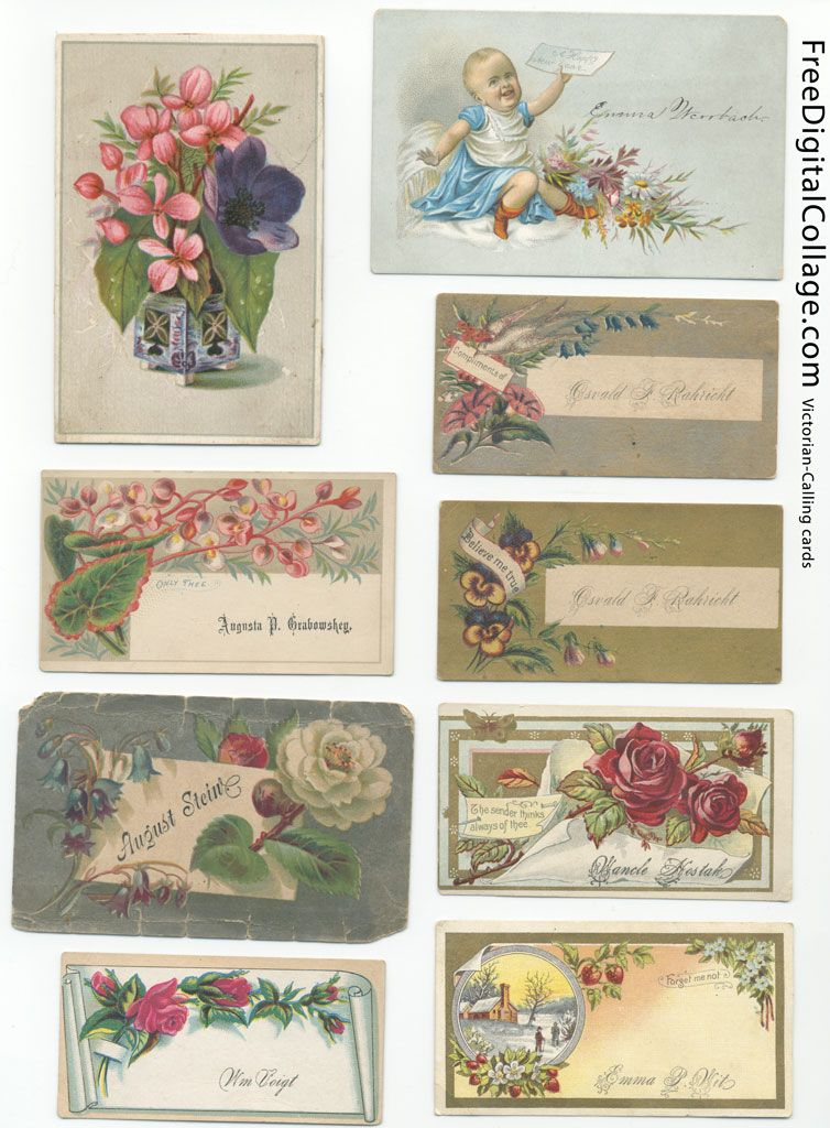 Victorian Calling Cards | flourishes and flowers | Pinterest ...