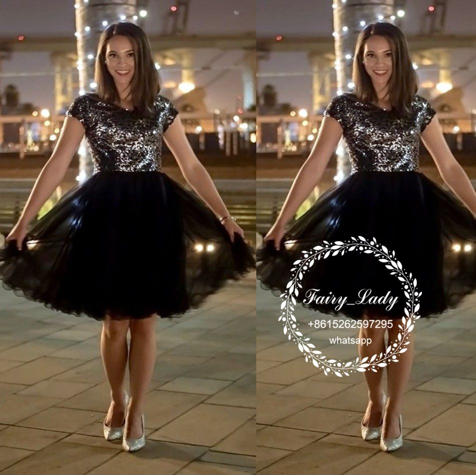2018 Little Black Dresses Cocktail With Capped Sleeves Sparkling ...
