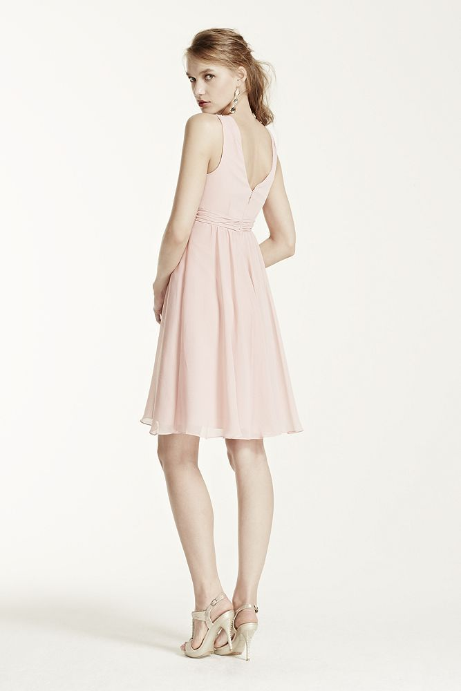 8a8f4c56261d Short Crinkle Chiffon Bridesmaid Dress with Halter Style F15600,  Watermelon, 26