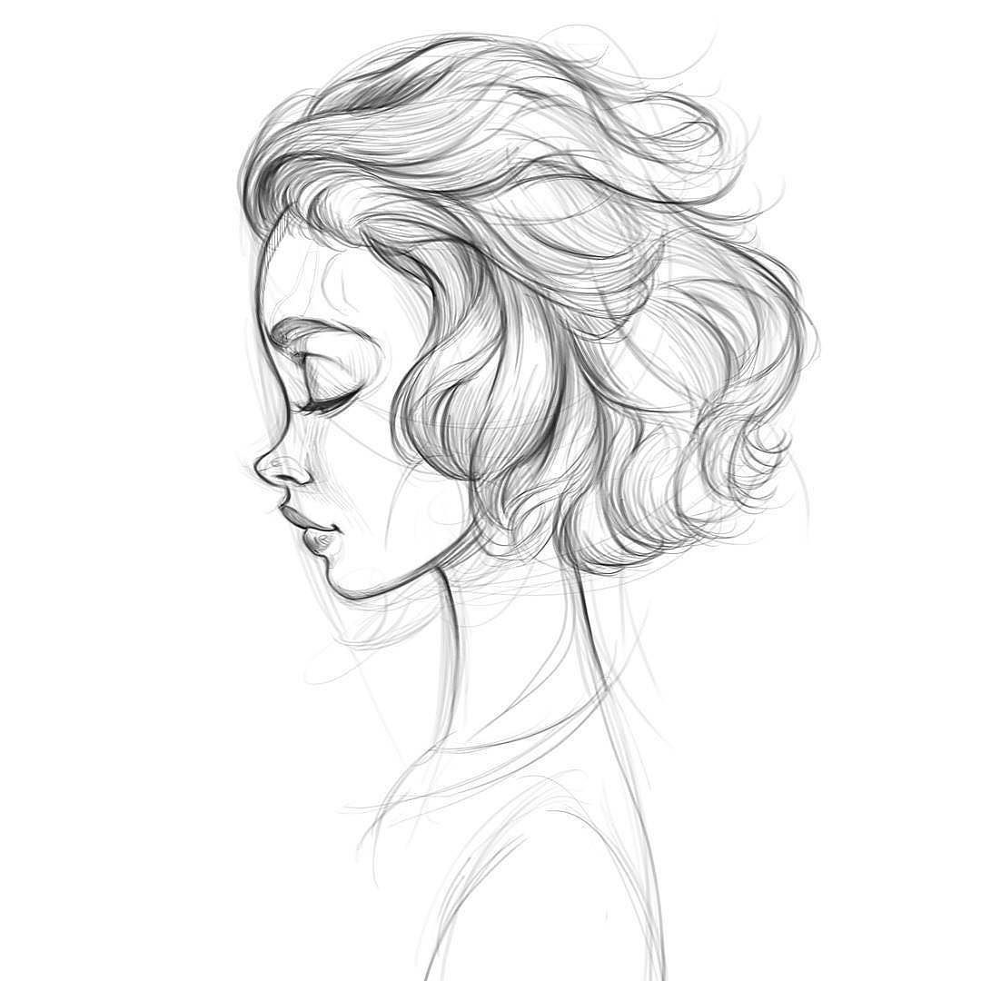 profile short hair cute drawing