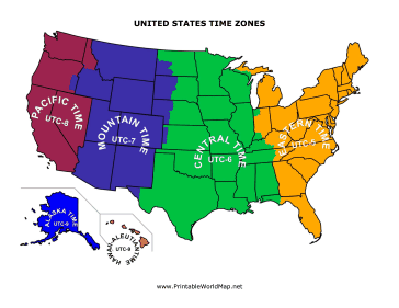 This Printable Map Of The United States Is Divided Into Colorful - Time zones in the us map