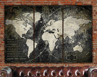 Industrial push pin or canvas world map world map canvas vintage industrial push pin or canvas world map world map canvas vintage map large gumiabroncs Image collections