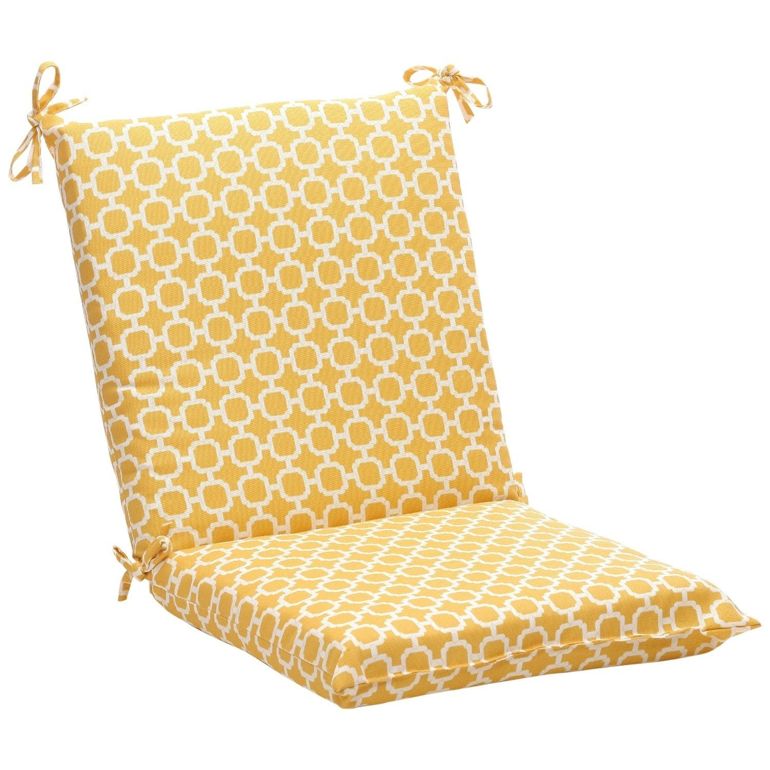 Squared Yellow White Geometric Outdoor Chair Cushion Pillow
