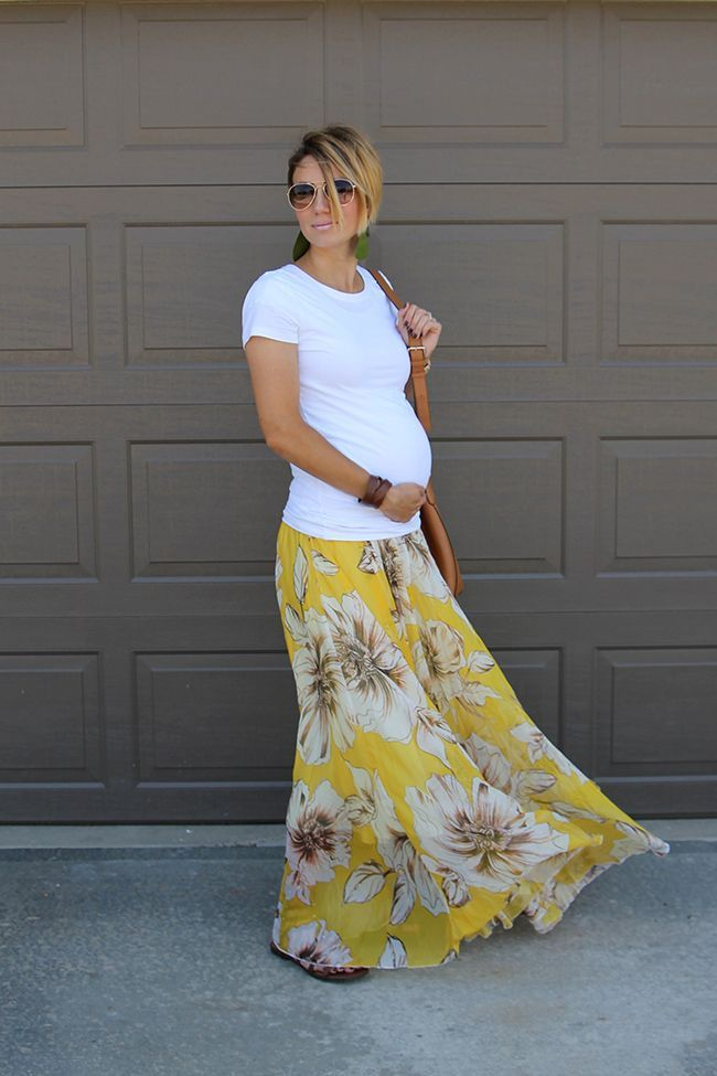 93fd04b7bc77 cool Sunday Style- White Tee and Maxi Skirt Maternity Style by http