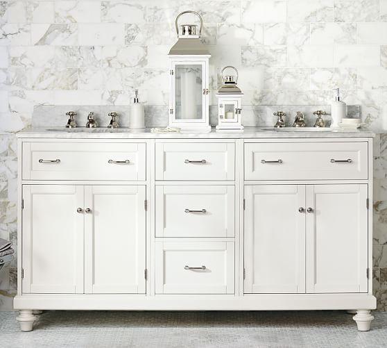 Custom Classic Double Sink Vanity With Doors Storage Carrara Marble Pottery Barn Double Sink Vanity Vanity Sink Bath Furniture