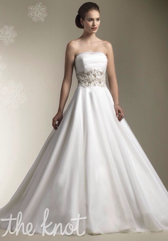 Off White A Line Wedding Gown With Silver Accents