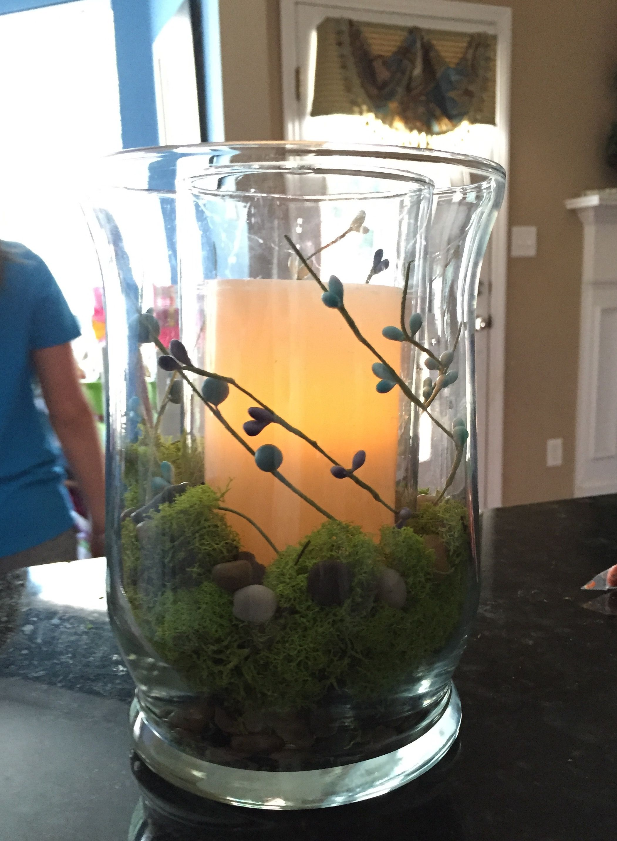 Spring centerpiece hurricane vase with pebbles and moss and led hurricane vase with pebbles and moss and led candle dollar general vases reviewsmspy