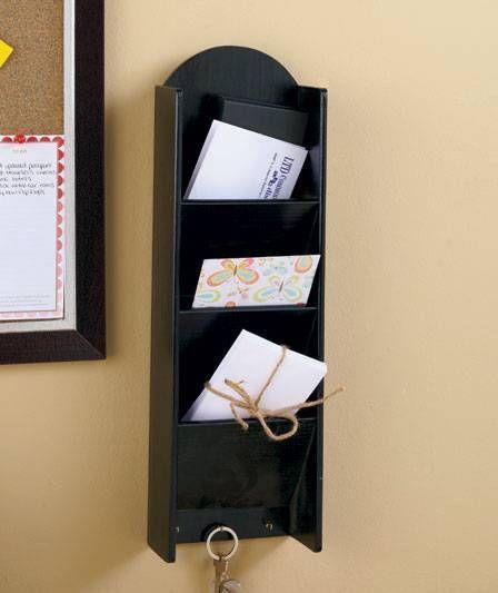 New Hanging 3 Tier Mail Key Holder With Storage Black Or Walnut Bills Organizer