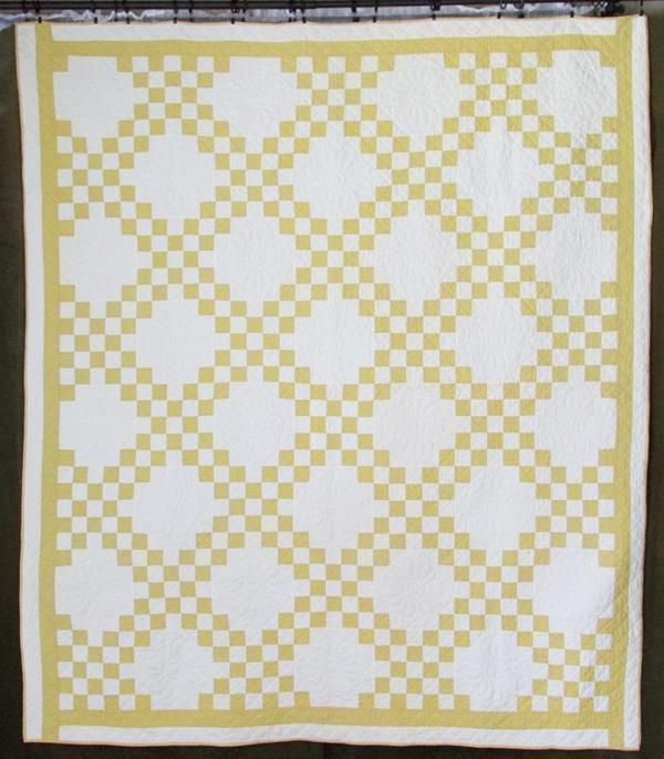 Amazing Quilting! Antique Goldenrod Yellow and White Irish Chain ... : cleaning antique quilts - Adamdwight.com