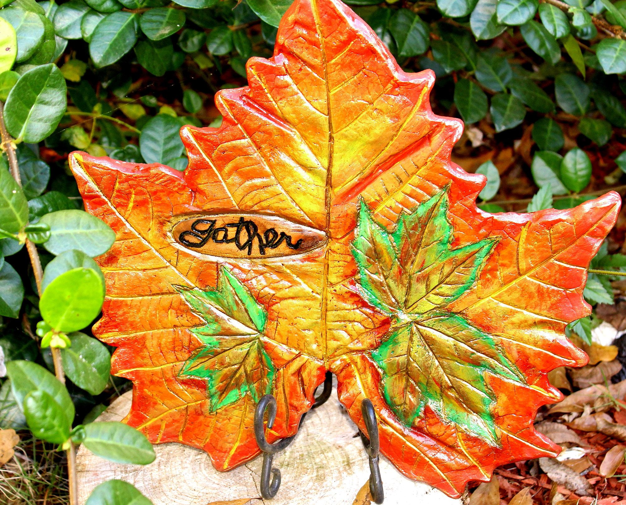 Leaf Casting of a Large Sycamore Leaf & Maple leaves. Handpainted in ...