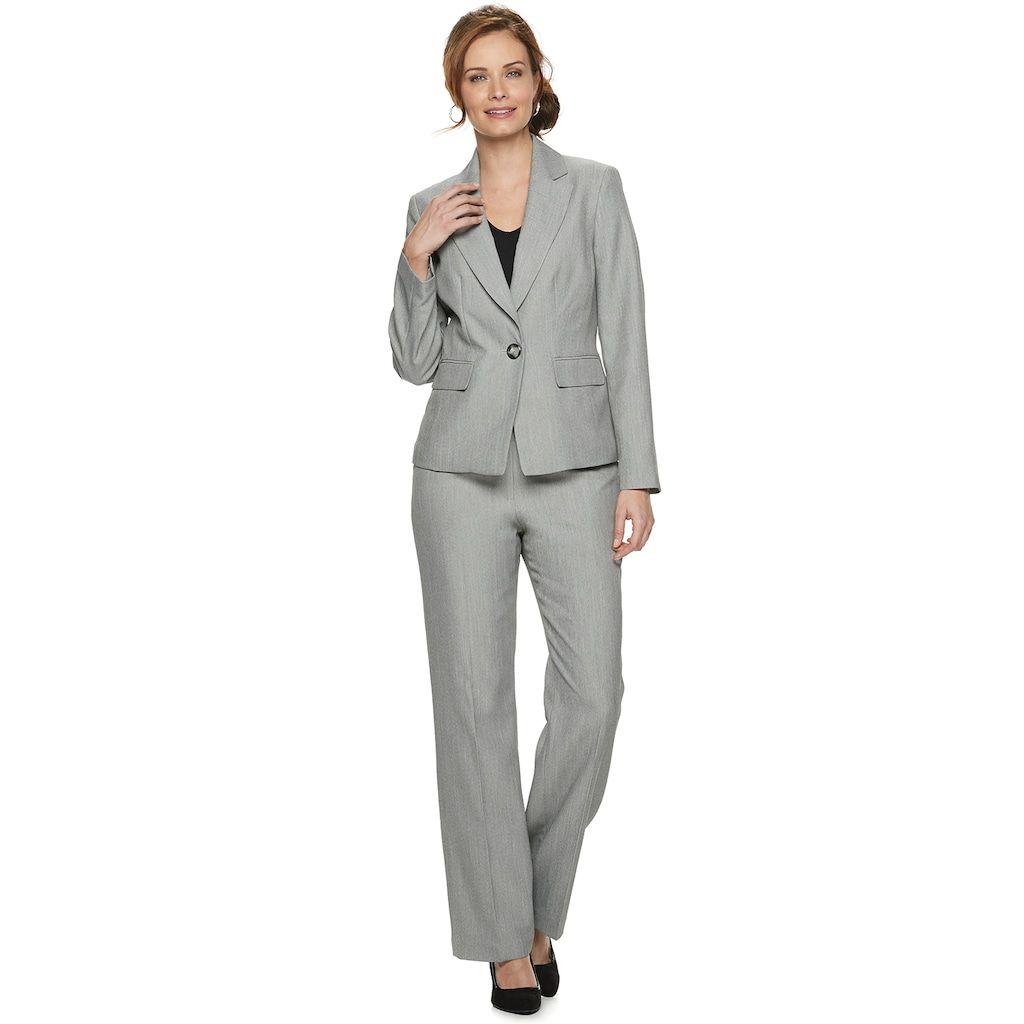 Le Suit Womens 1 Button Notch Collar Melange Pant Suit