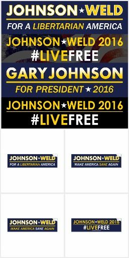 """A collection of bumper stickers and other gifts representing the Libertarian Party and their 2016 presidential candidates: Gary Johnson and Bill Weld.  Tired of Hillary Clinton or Trump?  Tired of only having Democrats and Republicans to choose from in every election? Donkeys and elephants starting to bore you? Test drive the Libertarian Party and get the best of both worlds!  Did you """"feel the bern""""? Well why don't you """"Feel the Johnson"""" instead!  Join #teamgov"""