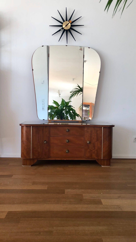 art deco 50s mirror dresser, dressing table, vanity table | pinterest