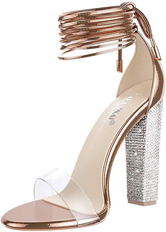 Gold high heel sandals, Clear chunky heels
