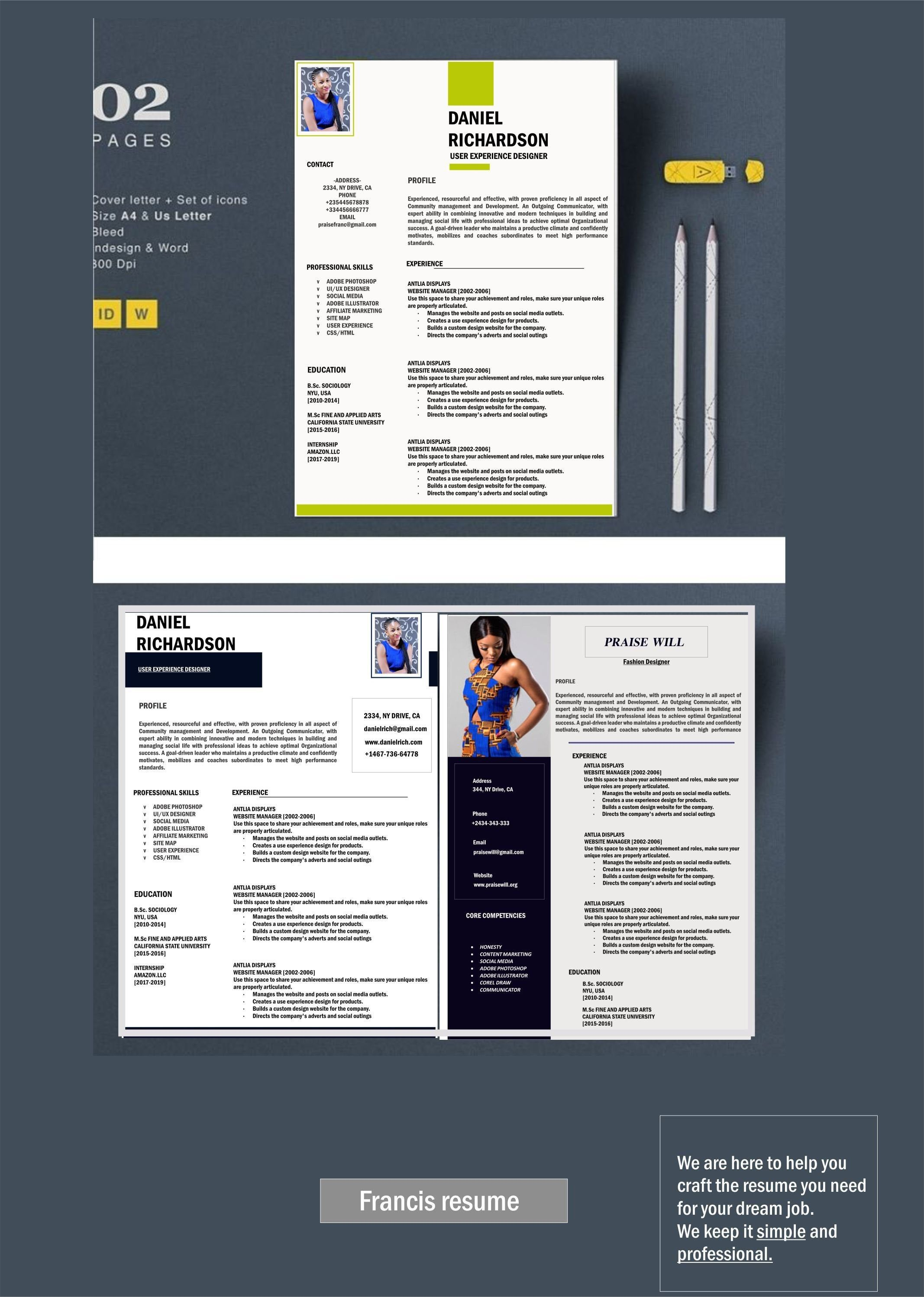 1 Page Resume Professional Cv Template Resume Template Ms Etsy In 2020 Cv Template Professional Cv Template Infographic Resume