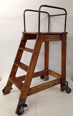 Vintage Industrial Oak Library Ladder Putnam Rolling Platform