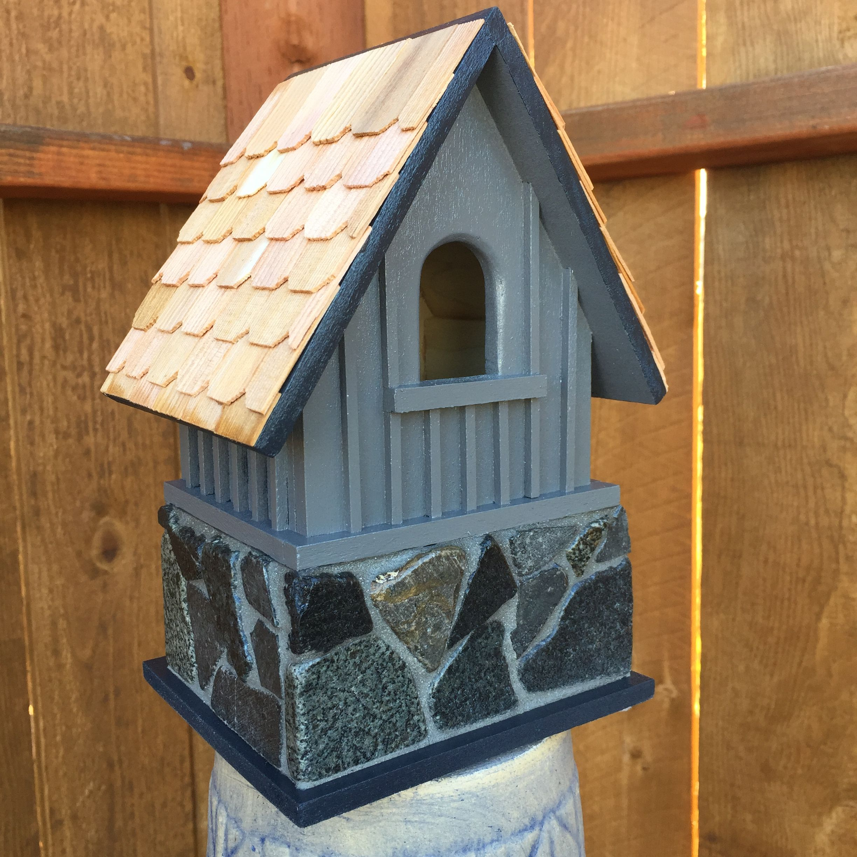 Best Grey Slate Birdhouse With Cedar Shingles Bird Houses 400 x 300