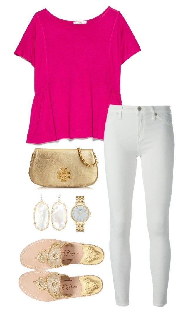 """pink&gold"" by kcunningham1 ❤ liked on Polyvore featuring MANGO, 7 For All Mankind, Jack Rogers, Kendra Scott, Tory Burch and Kate Spade"