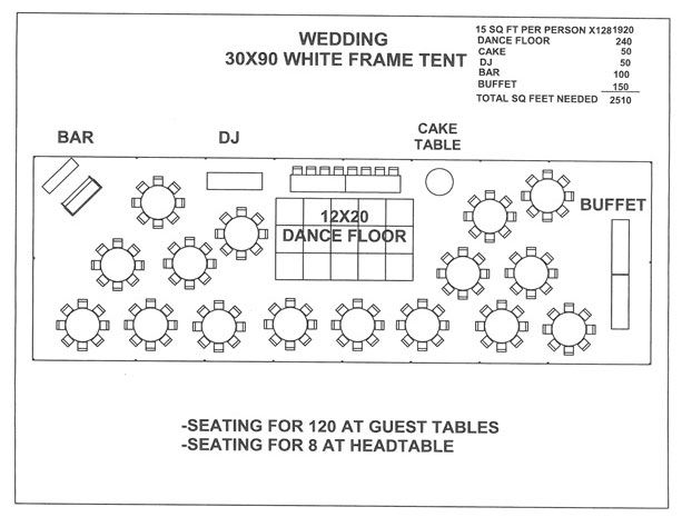 Wedding 30x90 white frame tent a love for Wedding floor plan
