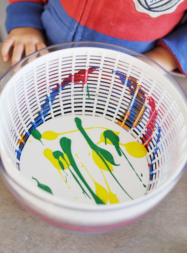 spin art use a salad spinner to make fun patterns on paper plates