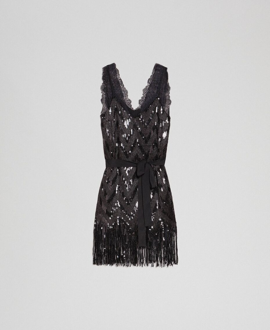 Allover-Pailletten-Kleid mit Fransen  Pailletten kleid, Kleid mit