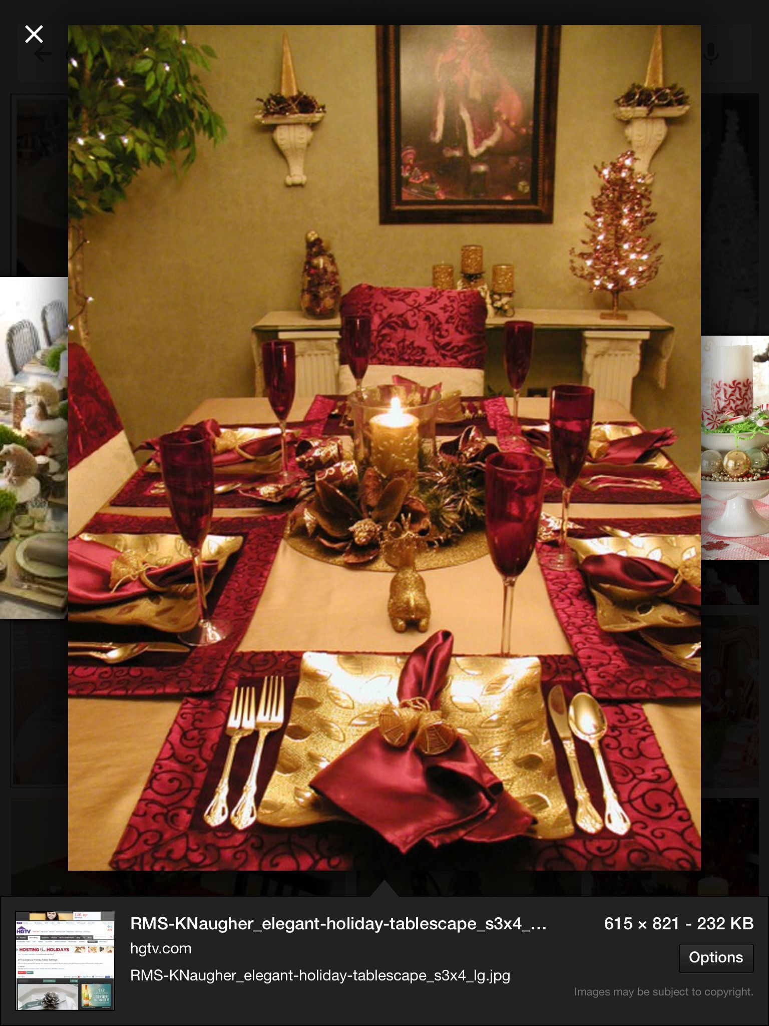 Red And Gold Table Holiday Table Settings Gold Christmas Decorations Christmas Table