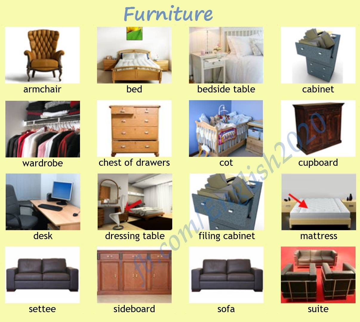 Vocabulary furniture english language esl efl learn for Bedroom furniture vocabulary