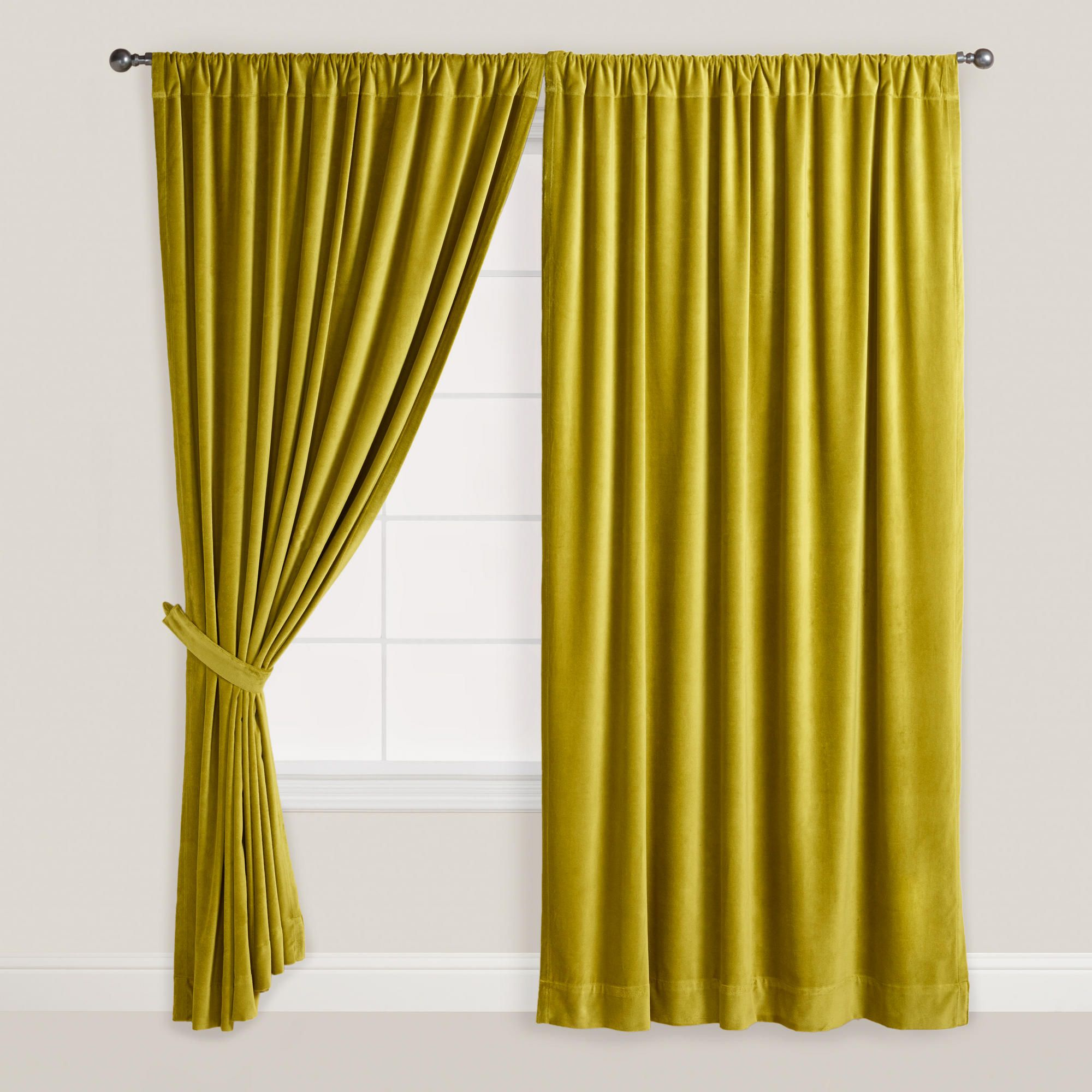 Green bedroom curtains - Green Velvet Oasis Curtain World Market Bedroom
