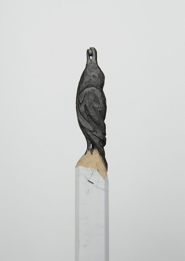 A Raven Carved from Graphite Pencil - by Diem Chau