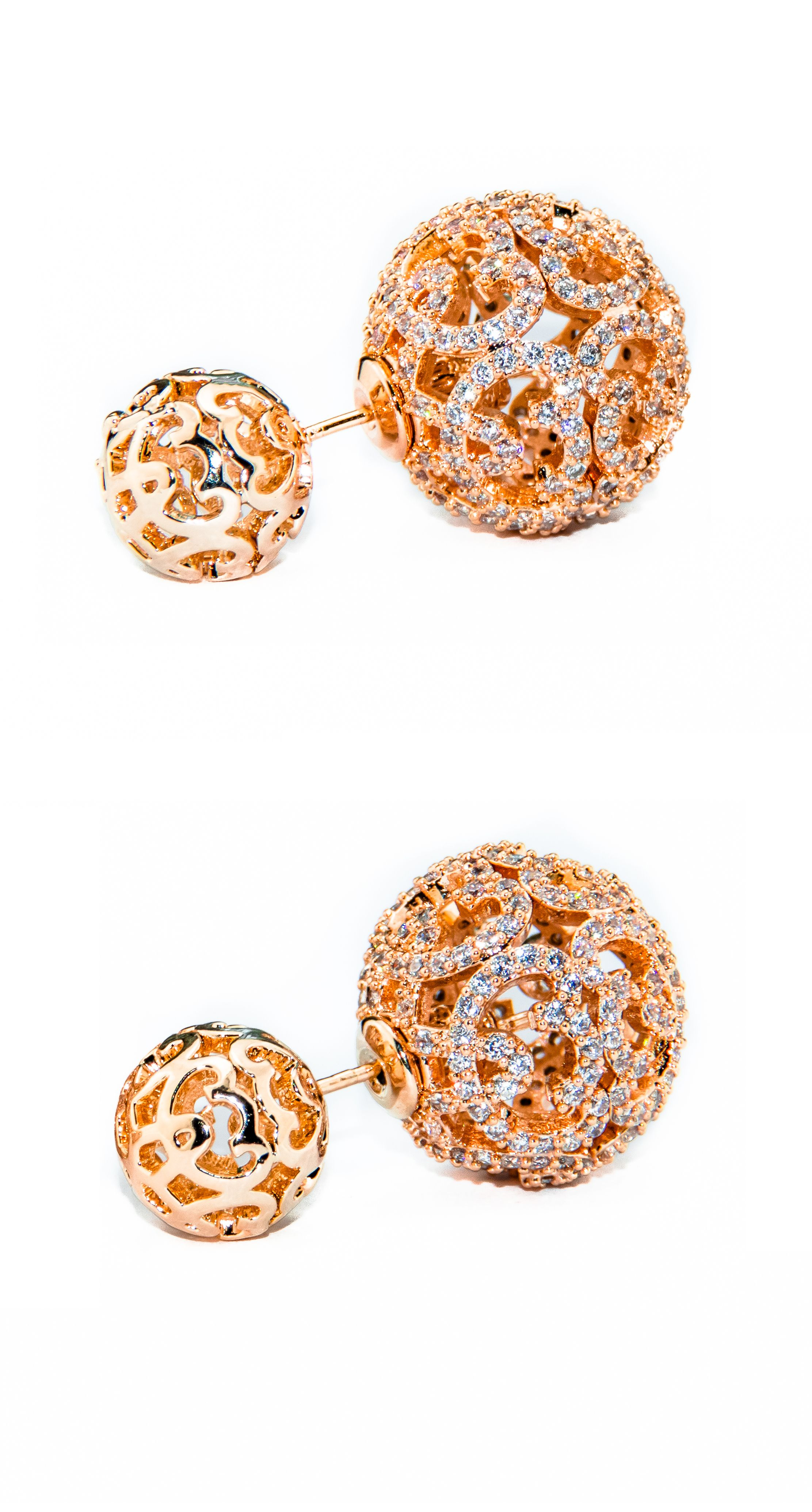 5f98f80d81246c Monaco Gold Double Ball Earring is carefully crafted to perfection. This  earring is plated with 18K Rose Gold and paved with premium cubic zirconia  crystals ...