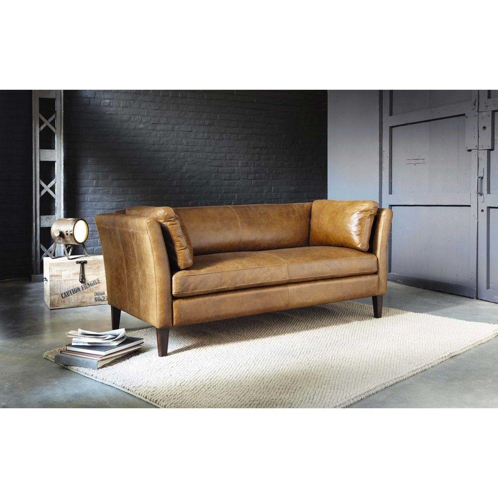 canap vintage 2 3 places en cuir camel salon vintage. Black Bedroom Furniture Sets. Home Design Ideas