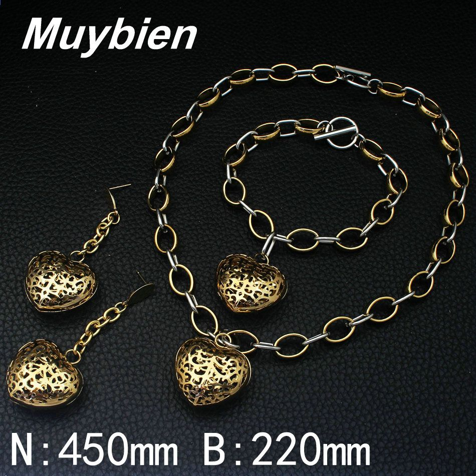 Newest stainless steel fashion jewelry gold color necklace bracelet
