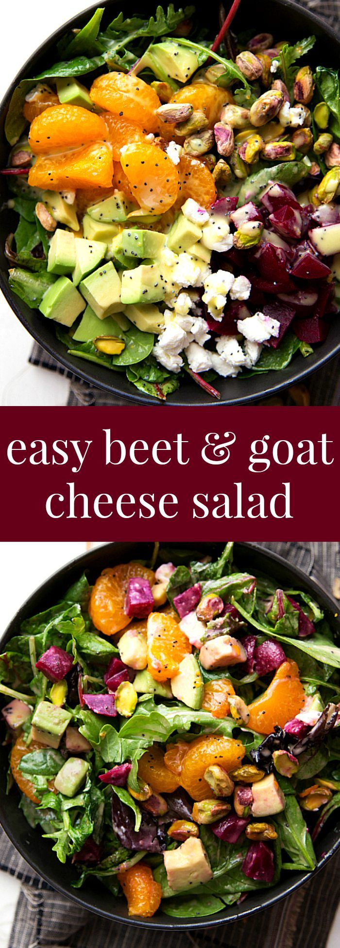 Super Quick Beet And Goat Cheese Salad With A Delicious Orange Honey Poppyseed Dressing Perfec Beet Goat Cheese Salad Beet And Goat Cheese Goat Cheese Salad