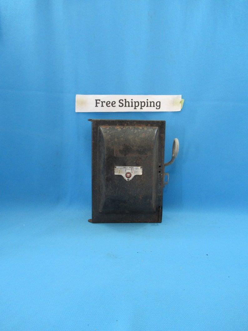 Vintage Antique Fuse Breaker Electrical Box, Westinghouse