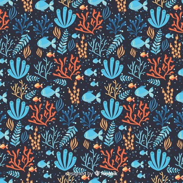 Dark hand drawn coral pattern Vector | Free Download ...