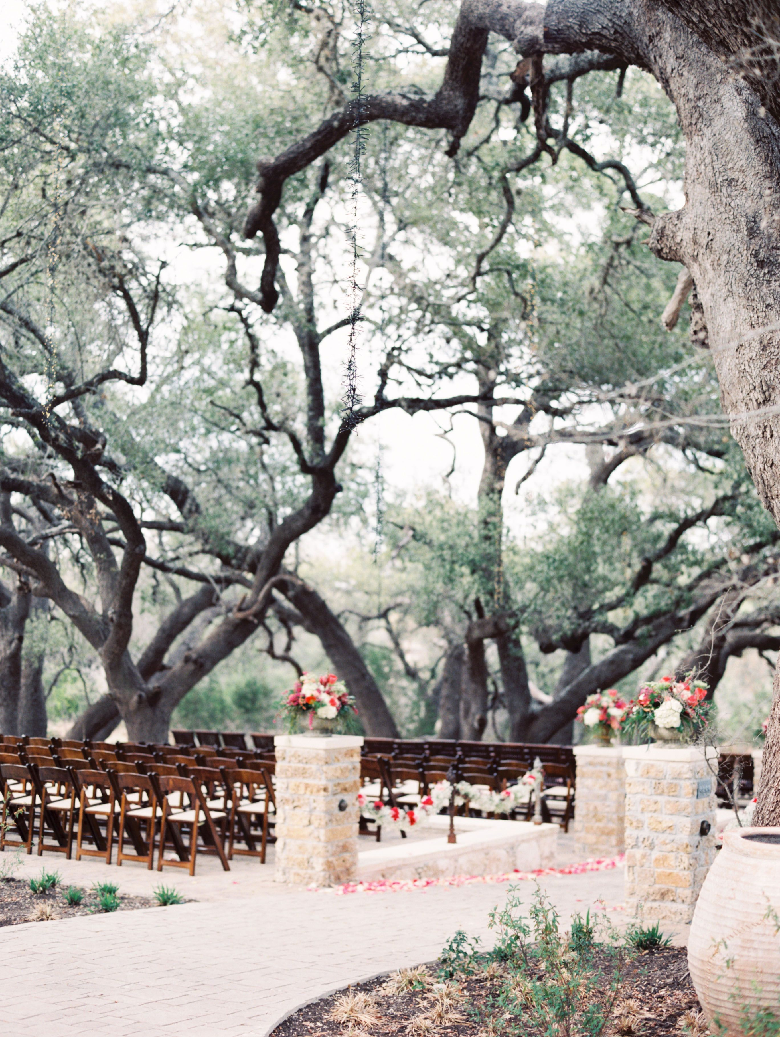 All snuggled in middle of the oak tree wedding ceremony
